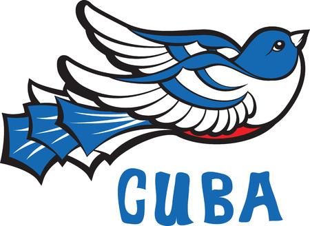 Freedom symbol. Blue tocororo cuban bird icon with inscription Cuba. Vector illustration.
