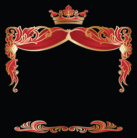 Richly decorated elegant corner and borders templates on black background. Vector decoration.