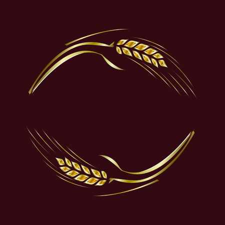 Gold ripe wheat rye ears on brown background, vector. Can be used as frame, corner or border design element. 向量圖像