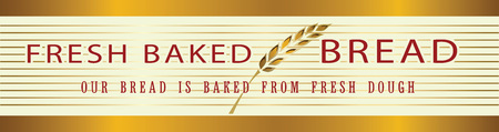 Vector gold and white decoration. Bakery banner template, border frame decorative element.