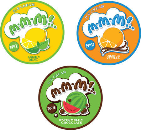 Round ice cream with fictitious name MMM! .. Fruit ice cream logo label template. Standard-Bild - 109723239