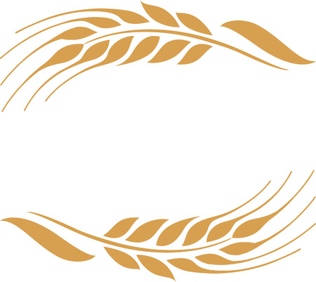 Vector illustration of two gold wheat ears. Can be used as frame, corner or border design element. 向量圖像