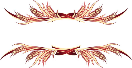 Vector illustration of gold wheat ears. Can be used as frame, corner or border design element.