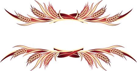 Illustrazione vettoriale di spighe di grano d'oro. Può essere utilizzato come elemento di design di cornice, angolo o bordo.