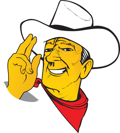 Western cartoon charismatic Texas Cowboy ranger in hat with scarf. Vector.