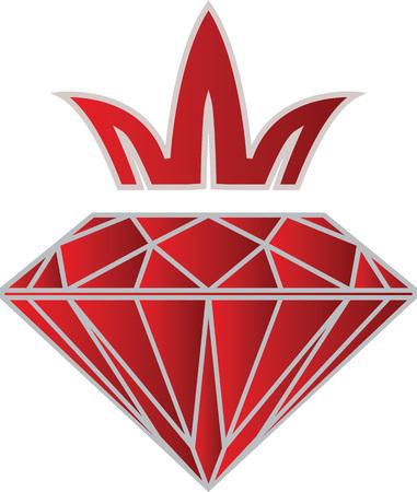 Purple red diamond with crown. Logo icon design template abstract luxury symbol. Vector. Standard-Bild - 109723193