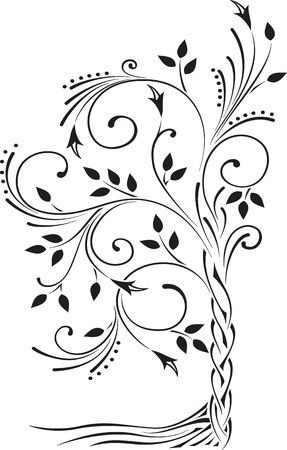 Black and white illustration of a beautiful stylized tree with leaves and roots. Standard-Bild - 109723194