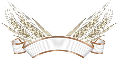 Vector illustration of gold ripe wheat ears on elegant banner. Can be used as frame, corner or border design element. Standard-Bild - 109723196