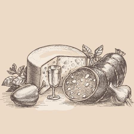 Hand drawn vector illustration still-life retro food advertisement layout design template.  向量圖像