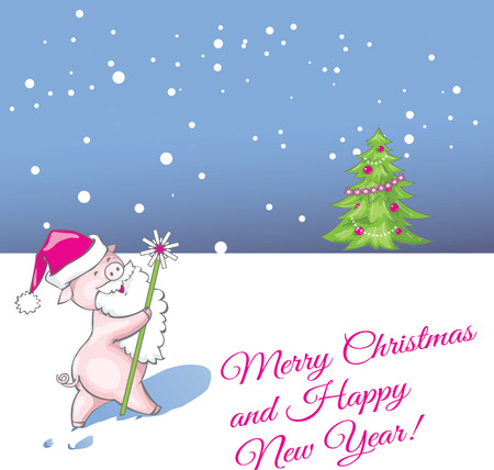 Christmas greeting card with funny pig cartoon vector illustration. Standard-Bild - 109723200