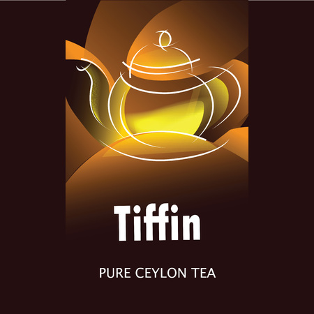 Black tea packaging design based on tea brand name Tiffin. Vector illustration. Standard-Bild - 115525456