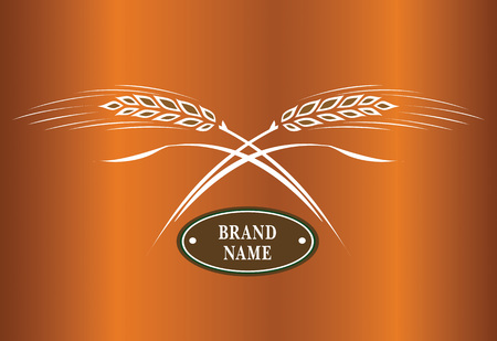 Two crossed wheat ears, vector. Logo brand icon template.