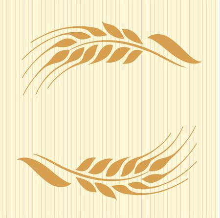 Vector illustration of wheat ears on beige background. Can be used as frame, corner or border design element. Illustration