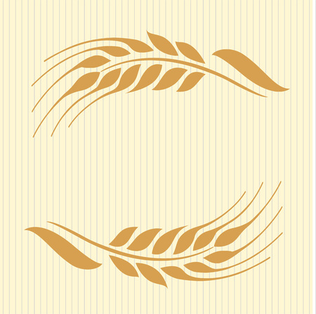 Vector illustration of wheat ears on beige background. Can be used as frame, corner or border design element. 向量圖像