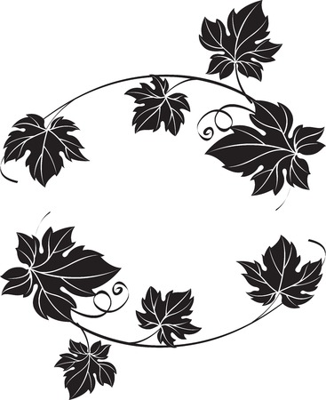 Black grape branches with leaves isolated on white background. Decorative ornament vector illustration. Can be used as frame, corner or border design element.