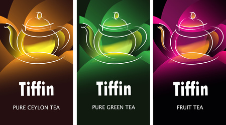 Black, green and fruit tea packaging design range templates with shining teapots based on FICTITIOUS tea brand name Tiffin. Vector packaging design .