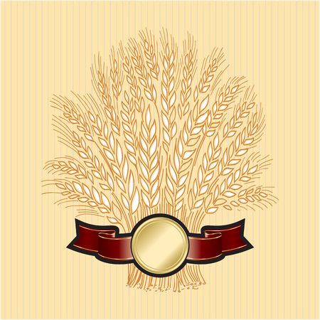 Hand drawn wheat sheaf on beige background with elegant banner Vector decorative element, brand icon or template. Standard-Bild - 119064731