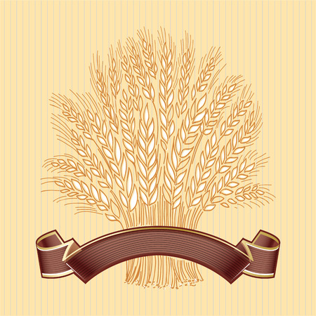 Hand drawn wheat sheaf on beige background with brown elegant banner Vector decorative element, brand icon or logo template.