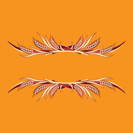 Vector illustration of gold ripe wheat ears on orange background. Can be used as frame, corner or border design element.