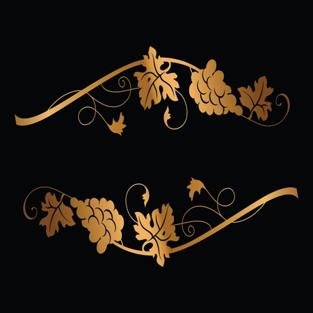 Golden grape branches with bunch of grapes and leaves on black background. Vintage winery design element. Can be used in menu restaurant, cafe, bar etc.   イラスト・ベクター素材