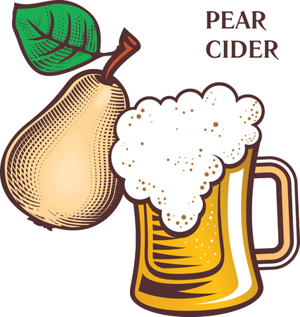 Engraving style hand drawing illustration of ripe pear with glass of cider beer with foam.