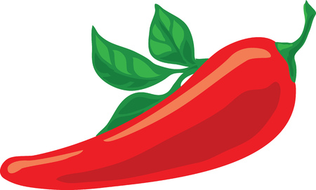 Fresh red spicy pepper with green leaf used to spice up the food vector color illustration Standard-Bild - 124114323