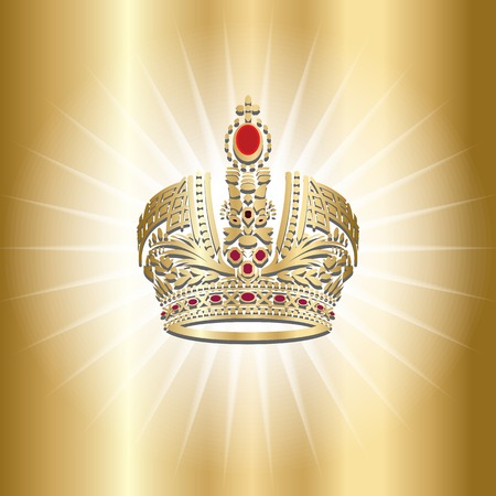 Monarch crown for king and queen, prince and princes on gold background. Vector.