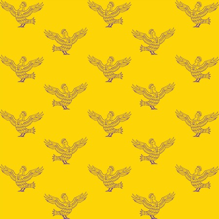 Seamless pattern. Mythical characters Sirin Bird Alconost - creatures with the bird body and beautiful woman head on yellow background.