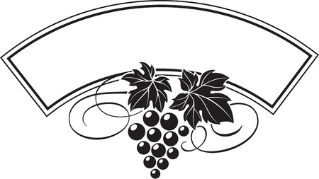 Vector illustration of grape bunch with leaves as wine  design template. Ilustrace