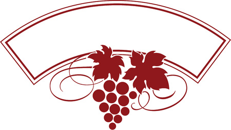 Vector illustration of grape bunch with leaves as wine   design template.