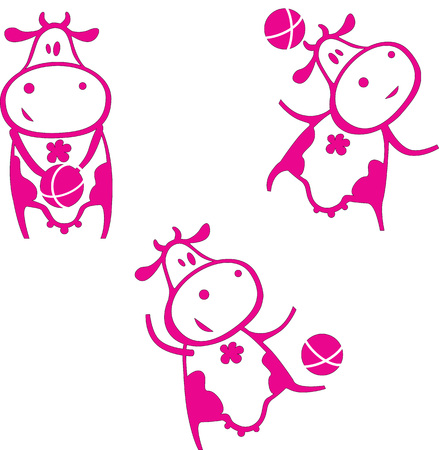 Cute funny cartoon cow playing with a ball in various poses.