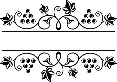 Wine theme decorative grapes ornamental frame border. Grape branches with bunch of grapes and leaves.