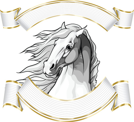 Illustration of a horse's head with a mane fluttering flowing in the wind framed with elegant white and gold banners.