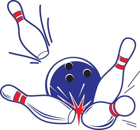 Vector illustration of bowling accessories. Bowling ball knocks down pins.
