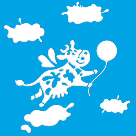 Cute good cow flying among clouds. Template for banner, advertising or logo for dairy store, dairy company, or as element of packaging for dairy products. Ilustrace