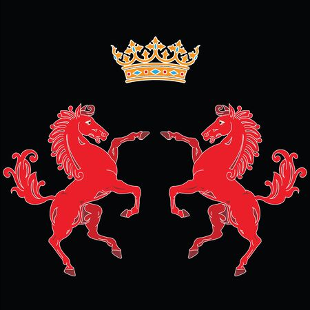 Two rearing up red horses silhouettes with king crown heraldic symbol on black background. Can be used for logo, emblem or heraldry design concept. Ilustrace
