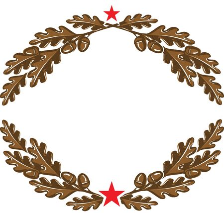 Triumphal oak branches wreath with acorns and red star as military style logo element. Vector illustration on white background.