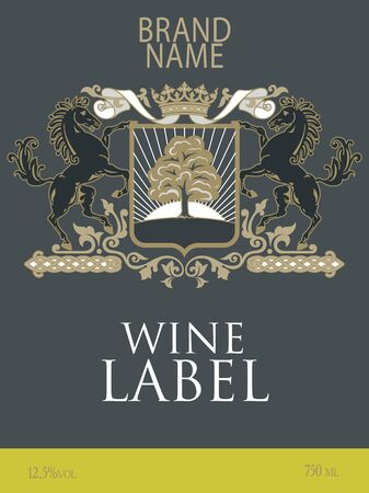 Template of wine label with a coat of arms with two horses reared under the royal crown; vector.