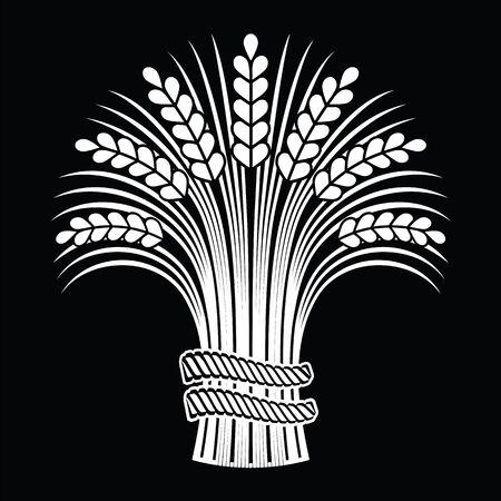 Gerbe d'épis de blé mûr sur fond noir. Illustration vectorielle, peut être utilisée comme élément de cadre, de coin ou de bordure. Vecteurs