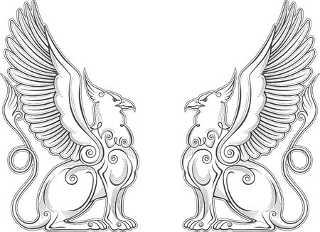 Royal heraldry gryphon mythical creature power and strength symbol vector eagle head lion body bird wings heraldic emblem legendary beast monarchy vulture mystic coat of arms symbol.