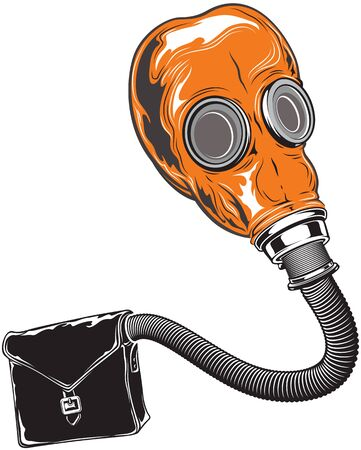 Vintage rubber cartoon gas mask with tube, soviet style. Vector illustration.