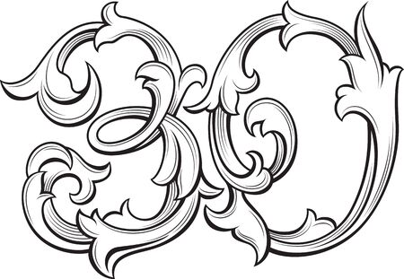 Elegant 30 years anniversary baroque victorian style logo template, vector illustration.