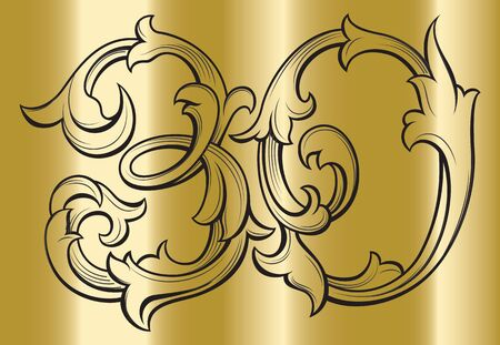 Elegant 30 years anniversary baroque victorian style logo template on gold background, vector illustration.