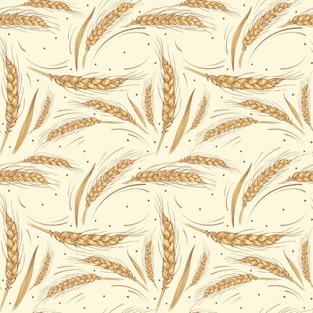 Seamless pattern with ripe wheat ears on beige background.