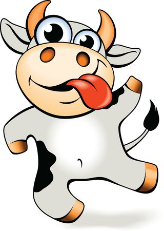 Funny cartoon crazy mad and happy cow vector illustration. 