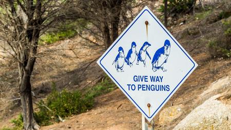 penguin warning road traffic sign in Granite Island, South Australia