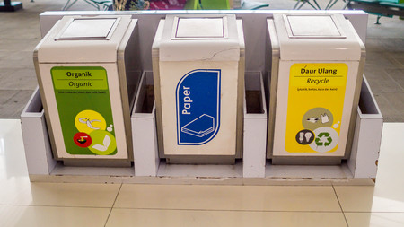 trash bin for different types of garbage. trash recycle bin. people must sort their trash before throw it to the bin.
