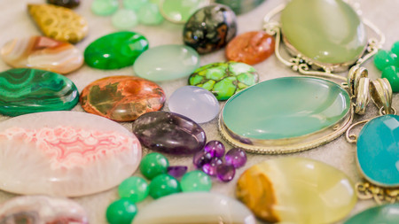 assorted colorful gemstone cabochon. geology and mineral background