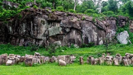 the ruins of Ratu Boko Palace, Yogyakarta. it is build by Java ancient kingdom Syailendra Dinasty at 8th century AD Stock Photo