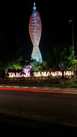 Taman Samarendah, steel tower with beautiful lighting at night that become new iconic landmark in Samarinda and spot for outdoor activities Editorial